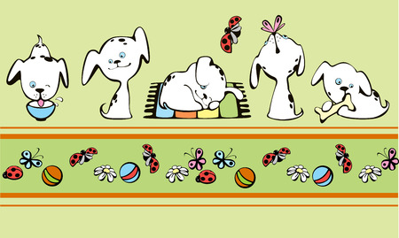 scratch pad: border with small white puppies Illustration
