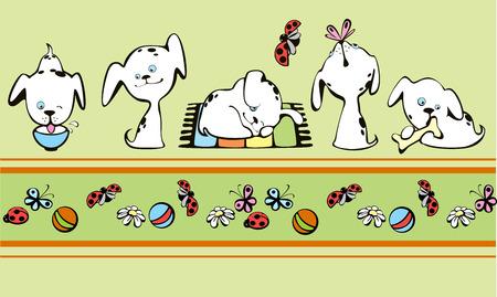 dalmatier: grens met kleine witte puppies