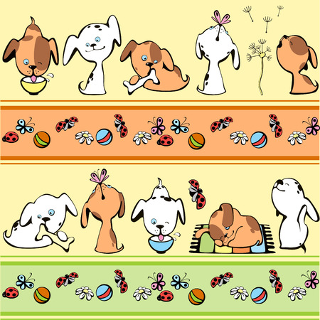 puppy cartoon: border with brown and white puppies Illustration