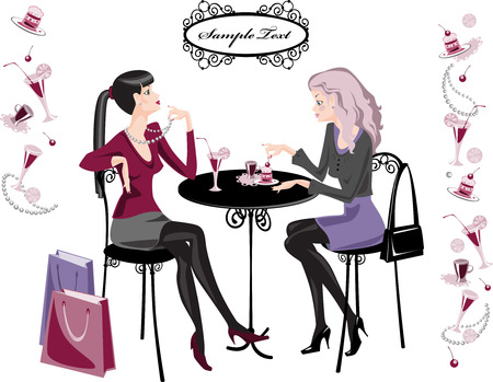 relaxar: girls spend their time in cafes