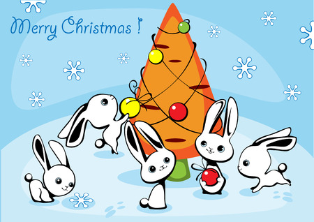 furtree: Christmas card with hares and a fur-tree from carrots 3 Illustration
