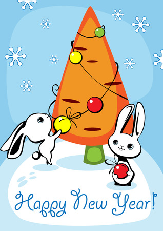 furtree: Christmas card with two hares and a fur-tree in the form of carrots 2 Illustration