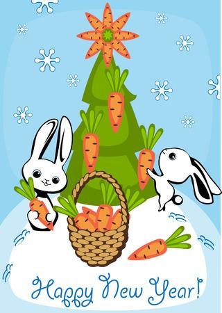 adorn: conejos adornan el �rbol de Navidad