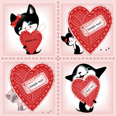 complete: complete set of cards. Valentines Day. heart and a kitten 2. Similar in a portfolio