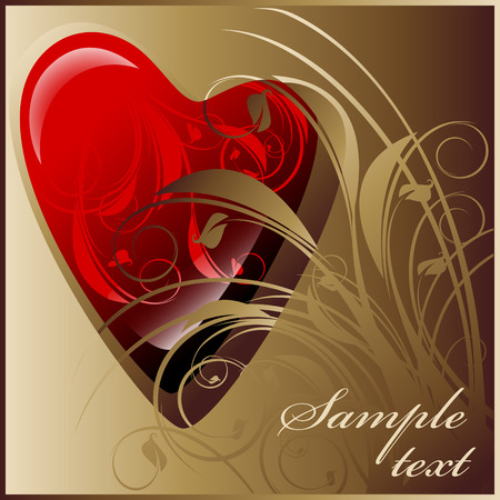 heart on a gold background Vector