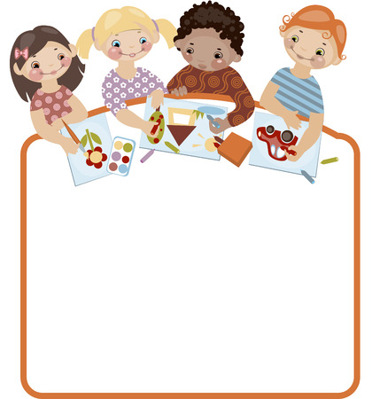School childhood. Place for your text. drawing. Similar in a portfolio Vector