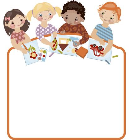 multicultureel: School jeugd. Plaats voor uw tekst. tekening. Soortgelijke in een portfolio