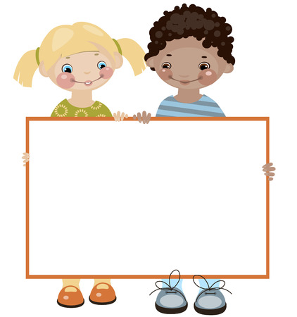 School childhood. Place for your text. Girl and boy. Similar in a portfolio Stock Vector - 8789040