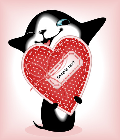 complete set of cards. Valentines Day. heart and a kitten 6. Similar in a portfolio Vector