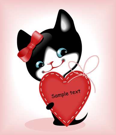 similar: complete set of cards. Valentines Day. heart and a kitten 7. Similar in a portfolio