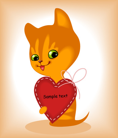 complete set of cards. Valentines Day. heart and a kitten 8. Similar in a portfolio Vector