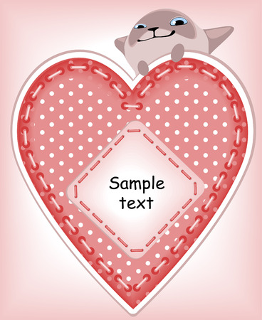 cartoon heart: complete set of cards. Valentines Day. heart and a kitten . Similar in a portfolio