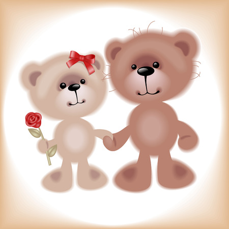 Boy and Girl. Teddy Bear. Similar in a portfolio Vector