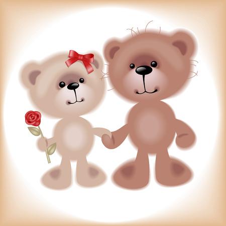 Boy and Girl. Teddy Bear. Similar in a portfolio Stock Vector - 8789072