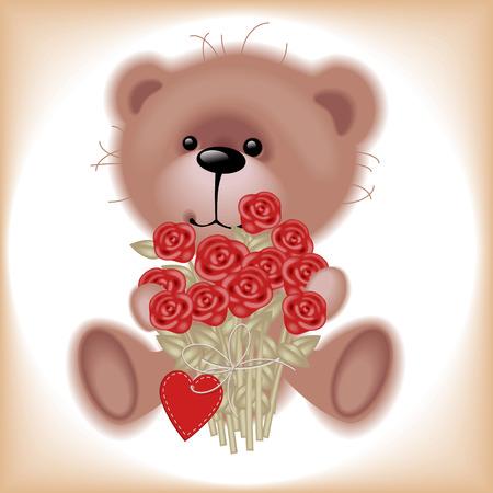 vintage teddy bears: Ragazzo orsetto con fiori. Simili in un portafoglio