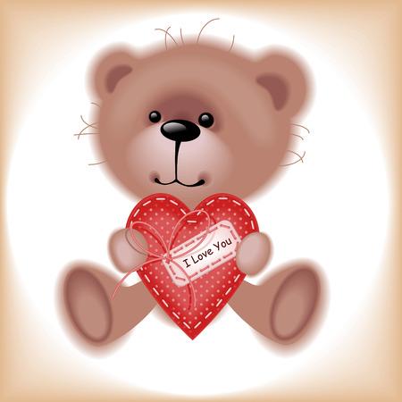valentine s day teddy bear: Boy Teddy Bear with hear. Similar in a portfolio