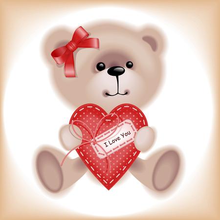 Girl Teddy Bear with heart. Similar in a portfolio Stock Vector - 8789074