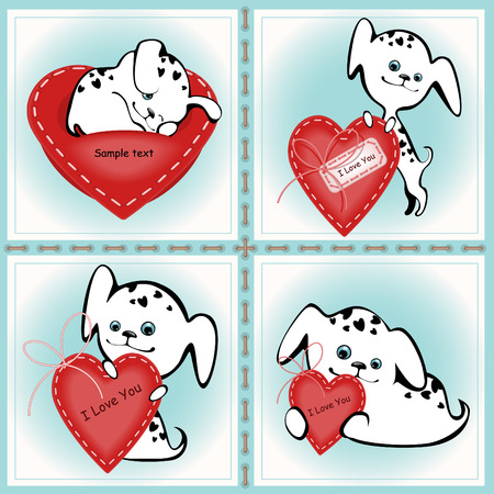 Collection of funny white puppies with a heart 2. similar to the portfolio Vector