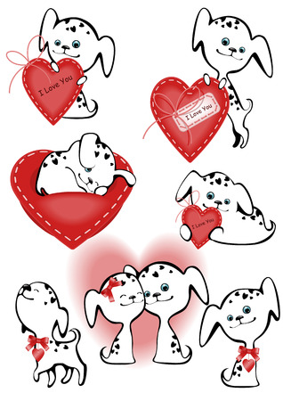Collection of funny white puppies with a heart. similar to the portfolio Vector