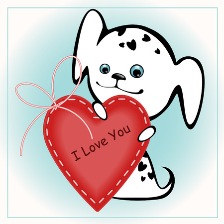 funny white puppies with a heart 1. similar to the portfolio Stock Vector - 8789088