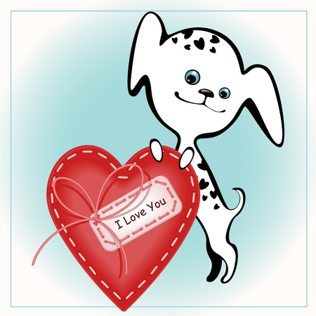 funny white puppies with a heart 2. similar to the portfolio Stock Vector - 8789089