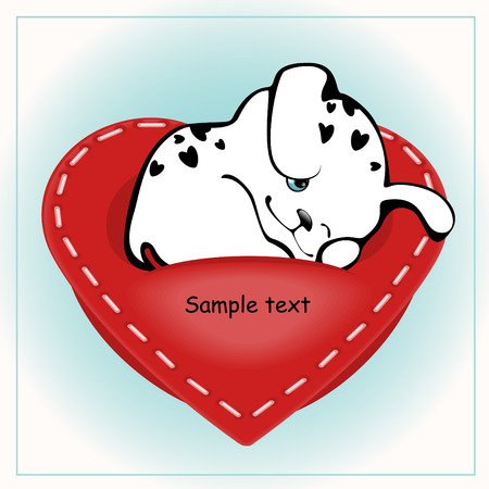 funny white puppies with a heart 3. similar to the portfolio Stock Vector - 8789083