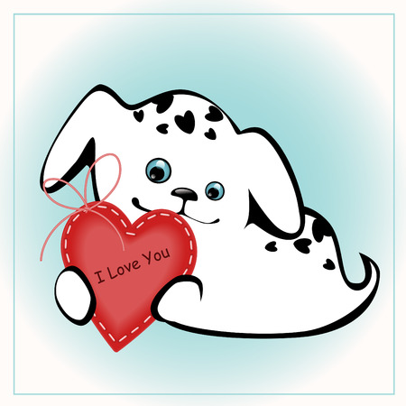 funny white puppies with a heart 4. similar to the portfolio Stock Vector - 8789087