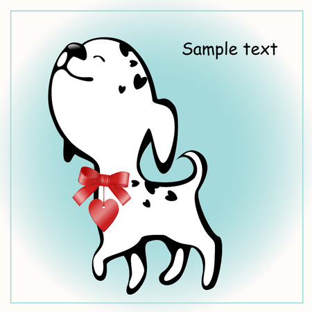funny white puppies with a heart 6. similar to the portfolio Vector