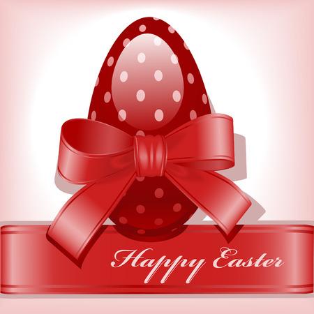 burgundy ribbon: fiocco su un uovo di Pasqua.