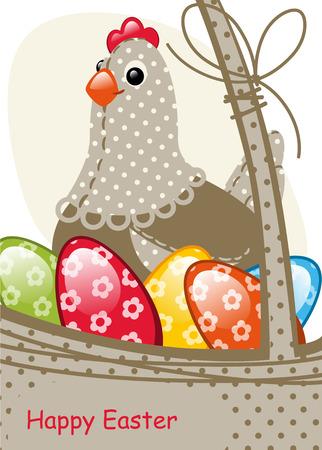joyeuses p�ques: poulet et uf P�ques. Carte de P�ques heureux