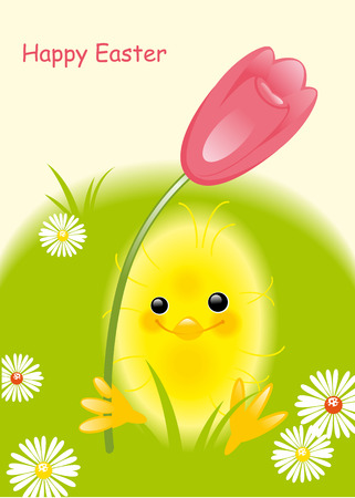 chicken and tulip. Happy Easter card Vector