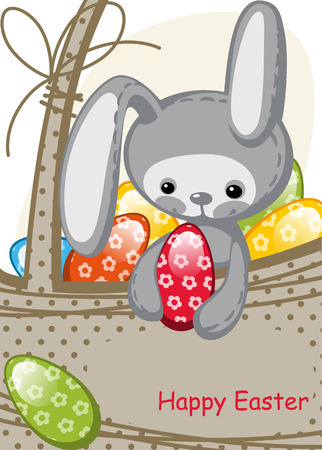 cute Easter bunny sitting in a basket. colorful Easter eggs. Vector