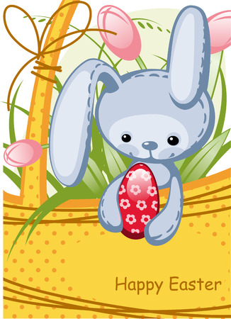 cute Easter bunny sitting in a basket. Easter eggs. Vector