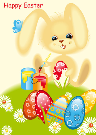 rabbit paints egg Easter. Happy Easter card Vector