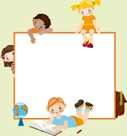 maestra jardinera: Infancia de la escuela. Lugar para el texto. sobre un fondo verde Vectores