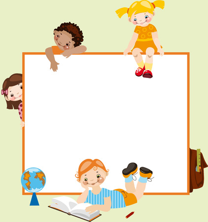 School childhood. Place for your text. on a green background Vector