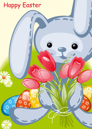 toy rabbit and tulips. Happy Easter card Vector
