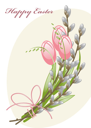 Willow branches and tulips. Happy Easter card Vector