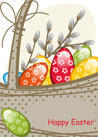 Willow branches in the basket, colorful Easter eggs Vector