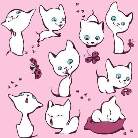 chaton en dessin anim�: collection des chatons blancs.