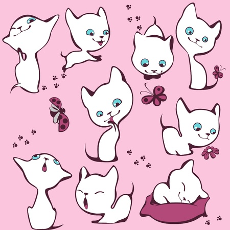 familiarity: collection of white kittens.   Illustration