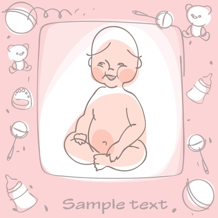 Congratulations on the birth of a girl. Stock Vector - 9279149