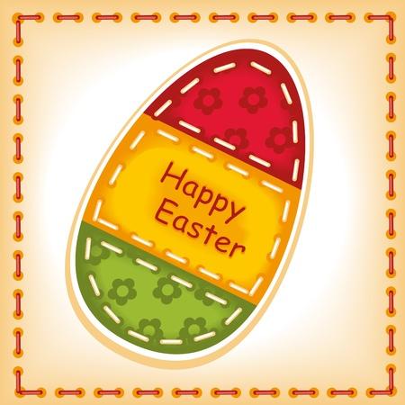 stitching: Happy Easter 5. machine stitching.  Illustration