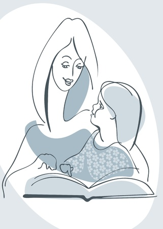 Mother and daughter reading a book Vector