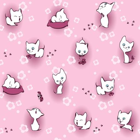 for children: white kitten in flowers. Wallpaper pink
