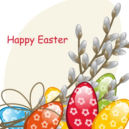 Willow branches and Easter Eggs. Postcard Vector