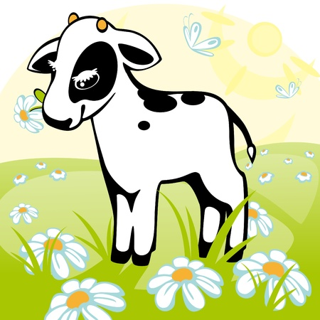 calf stands on a flower meadow. similar to the portfolio Stock Vector - 9279153