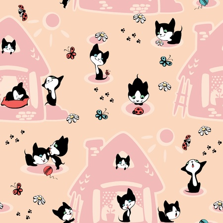 kittens in the house. Wallpaper. peach background Vector