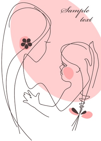 Mother and Child girl. Stock Vector - 9279205