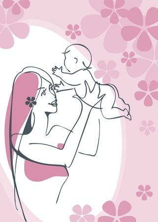 Mother and Child girl  Vector